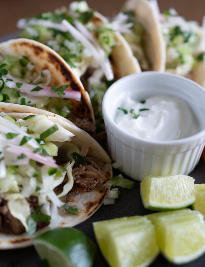 Pork Tacos with Cabbage Slaw and Pickled Shallots